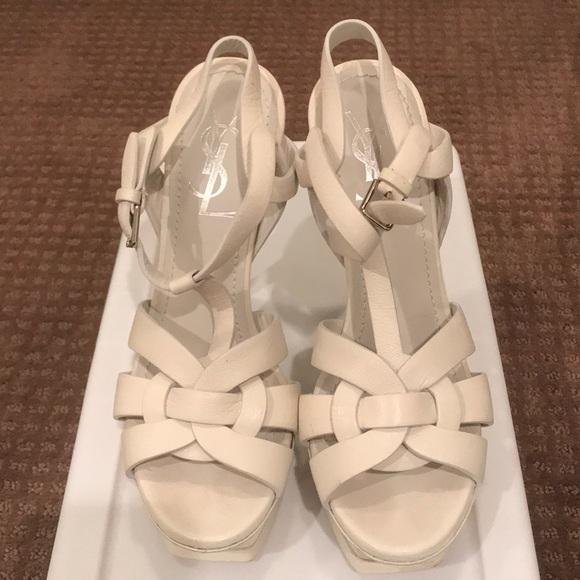 a8ec110352 YSL - White Tribute Platform Sandals Size 35